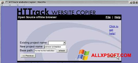 Snimak zaslona HTTrack Website Copier Windows XP