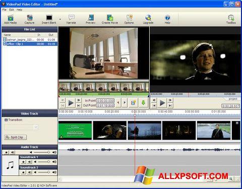 Snimak zaslona VideoPad Video Editor Windows XP