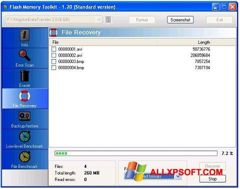 Snimak zaslona Flash Memory Toolkit Windows XP