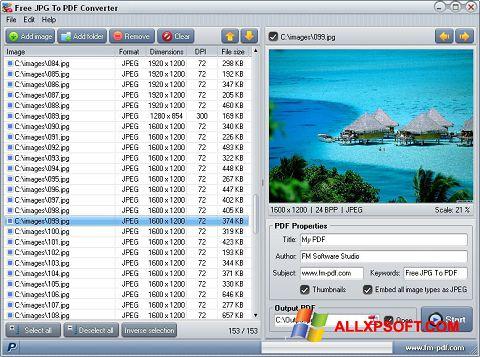 Snimak zaslona JPG to PDF Converter Windows XP