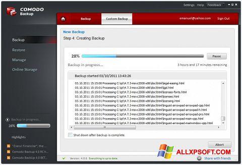 Snimak zaslona Comodo BackUp Windows XP