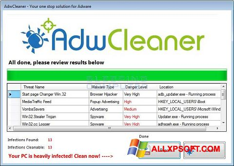 Snimak zaslona AdwCleaner Windows XP
