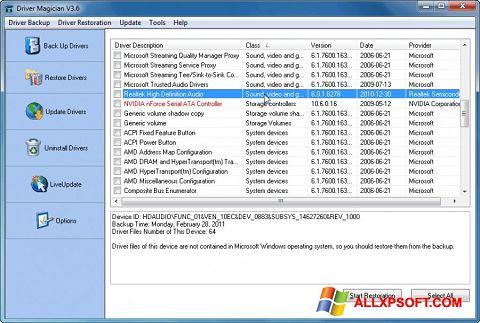 Snimak zaslona Driver Magician Windows XP