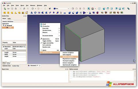 Snimak zaslona FreeCAD Windows XP