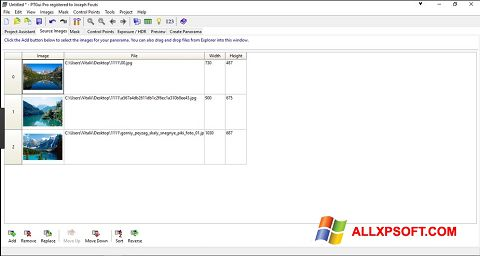 Snimak zaslona PTGui Windows XP