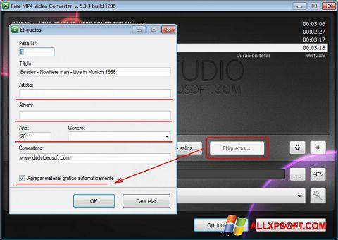Snimak zaslona Free MP4 Video Converter Windows XP