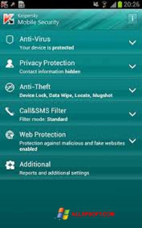 Snimak zaslona Kaspersky Mobile Security Windows XP