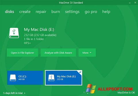 Snimak zaslona MacDrive Windows XP