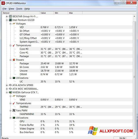 Snimak zaslona HWMonitor Windows XP
