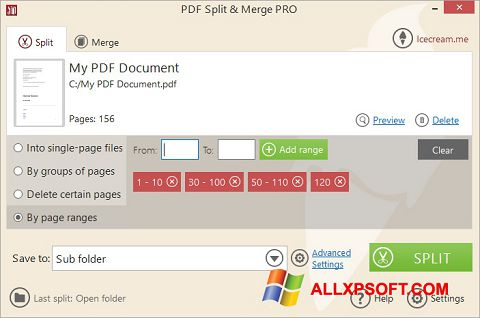 Snimak zaslona PDF Split and Merge Windows XP