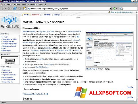 Snimak zaslona Mozilla Firefox Windows XP