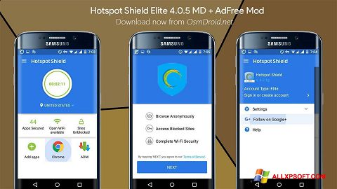 Snimak zaslona Hotspot Shield Windows XP