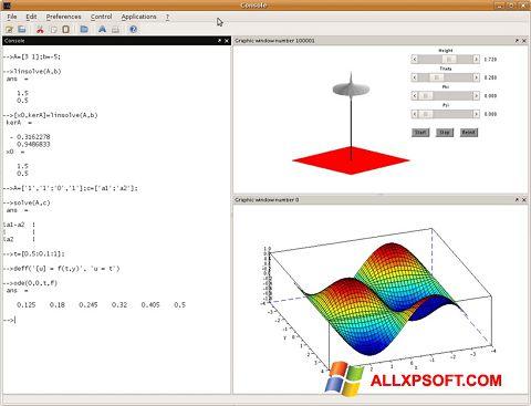 Snimak zaslona Scilab Windows XP