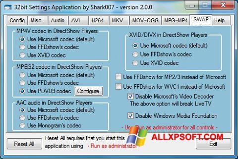 Snimak zaslona ADVANCED Codecs Windows XP