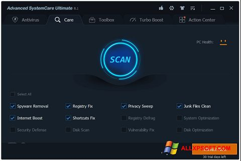 Snimak zaslona Advanced SystemCare Windows XP