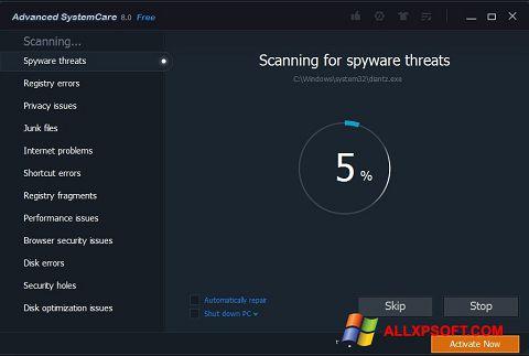 Snimak zaslona Advanced SystemCare Pro Windows XP
