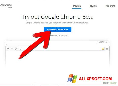 Snimak zaslona Google Chrome Beta Windows XP