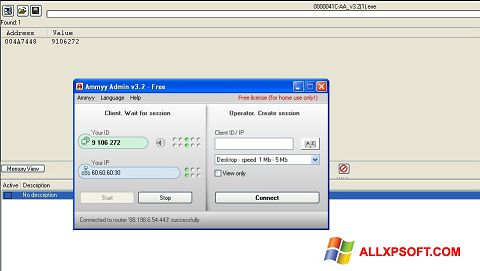 Snimak zaslona Ammyy Admin Windows XP