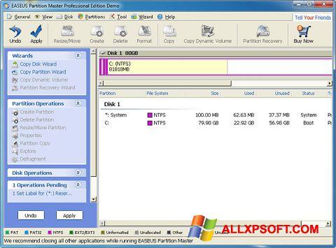 Snimak zaslona EASEUS Partition Master Windows XP