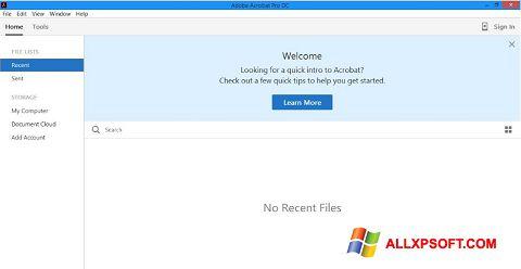 Snimak zaslona Adobe Acrobat Pro DC Windows XP