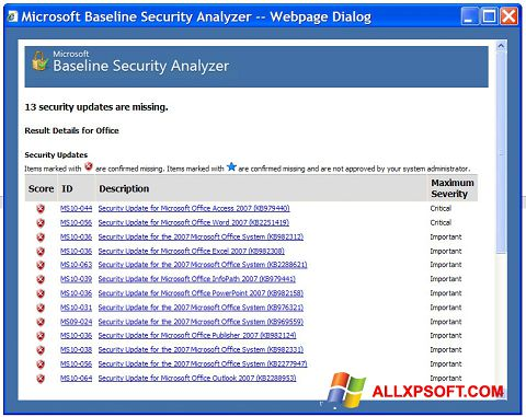 Snimak zaslona Microsoft Baseline Security Analyzer Windows XP