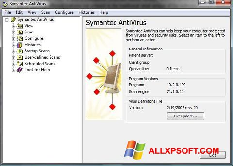 Snimak zaslona Symantec Antivirus Windows XP