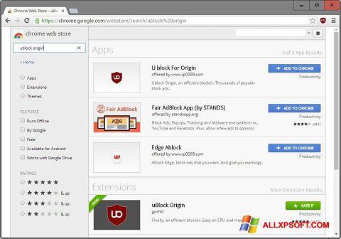 Snimak zaslona uBlock Windows XP