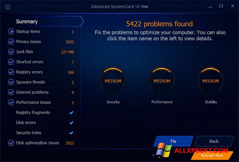 Snimak zaslona Advanced SystemCare Free Windows XP