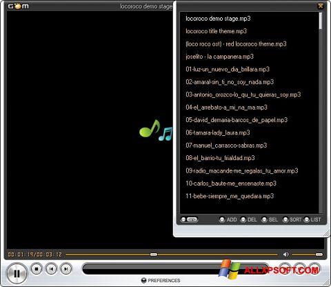 Snimak zaslona GOM Player Windows XP