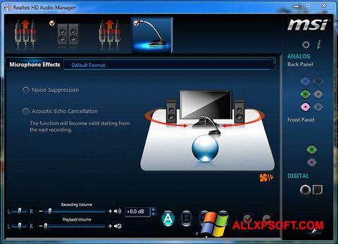 Snimak zaslona Realtek Audio Driver Windows XP