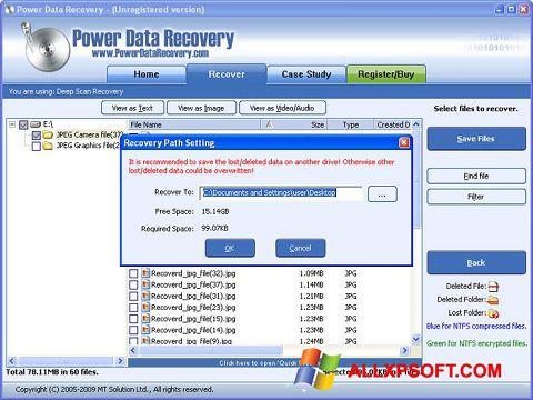 Snimak zaslona Wondershare Data Recovery Windows XP
