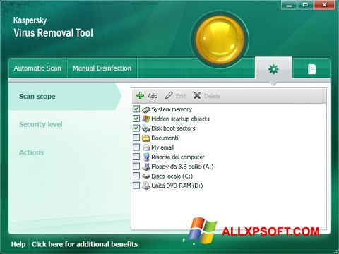 Snimak zaslona Kaspersky Virus Removal Tool Windows XP