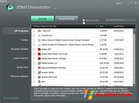 Snimak zaslona IObit Uninstaller Windows XP