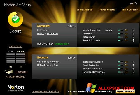 Snimak zaslona Norton AntiVirus Windows XP