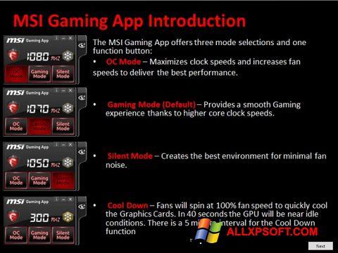 Snimak zaslona MSI Gaming App Windows XP