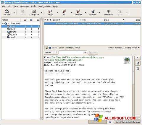 Snimak zaslona Claws Mail Windows XP