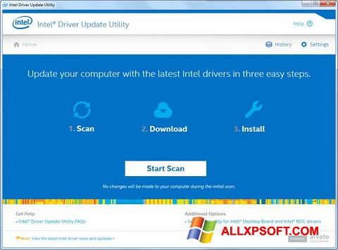 Snimak zaslona Intel Driver Update Utility Windows XP