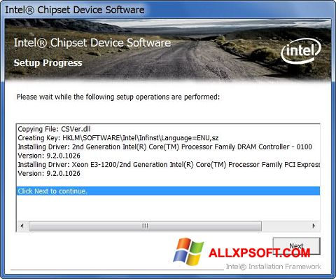 Snimak zaslona Intel Chipset Device Software Windows XP