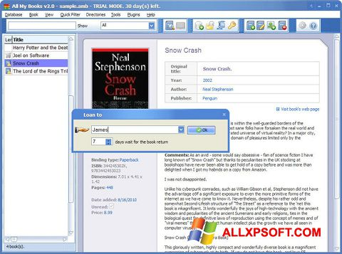 Snimak zaslona All My Books Windows XP