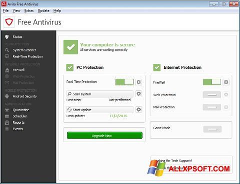 Snimak zaslona Avira Free Antivirus Windows XP