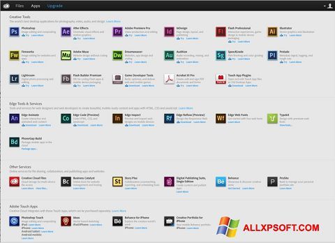 Snimak zaslona Adobe Creative Cloud Windows XP