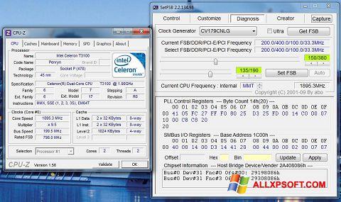 Snimak zaslona SetFSB Windows XP