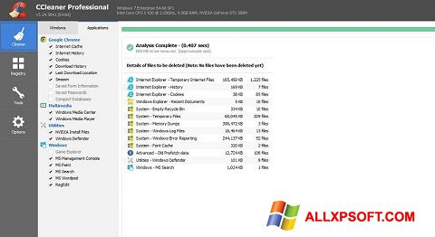 Snimak zaslona CCleaner Professional Plus Windows XP