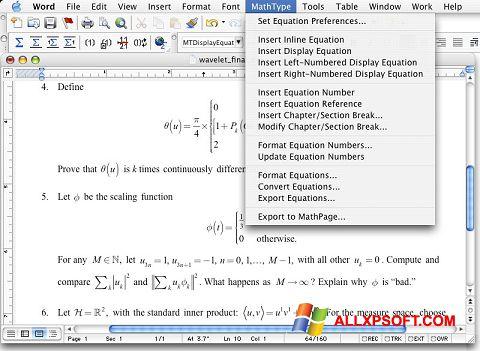 Snimak zaslona MathType Windows XP