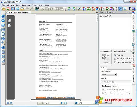 Snimak zaslona Solid Converter PDF Windows XP