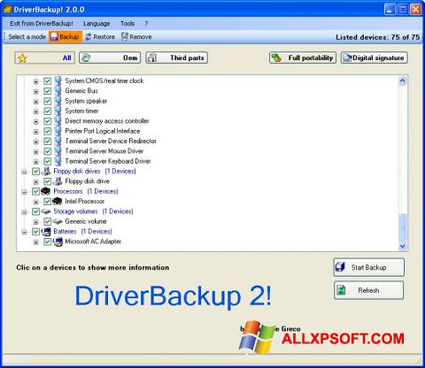 Snimak zaslona Driver Backup Windows XP