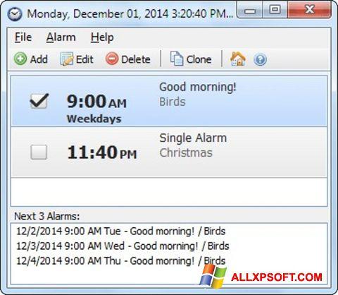 Snimak zaslona Free Alarm Clock Windows XP