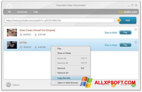 Snimak zaslona Freemake Video Downloader Windows XP