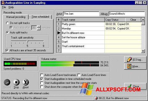 Snimak zaslona Audiograbber Windows XP