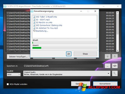 Snimak zaslona Free Audio Converter Windows XP